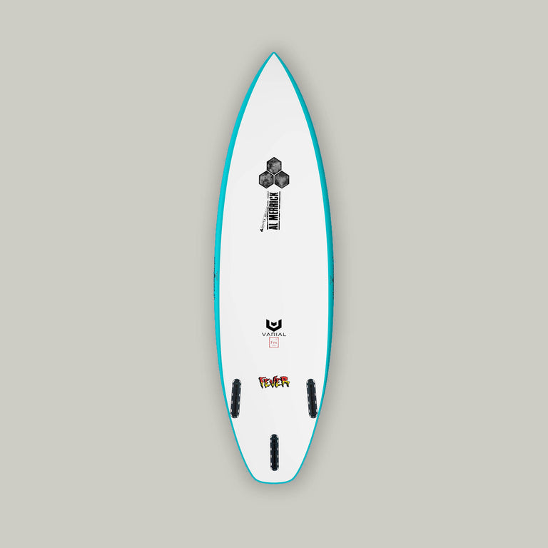 CI surfboard for sale. Varial Channel Islands Fever model. Custom CI board. Thruster set up. Al merrick logos and channel islands surfboards hex. Custom fins, color, dimension and glass