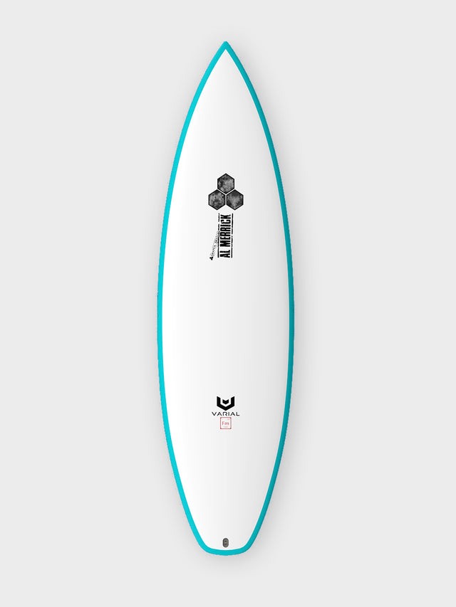Channel Islands custom surfboard. Fever model. Built using Varial Foam and Infused Glass. Performance shortboard. Custom glass, color, fin boxes and dimensions.