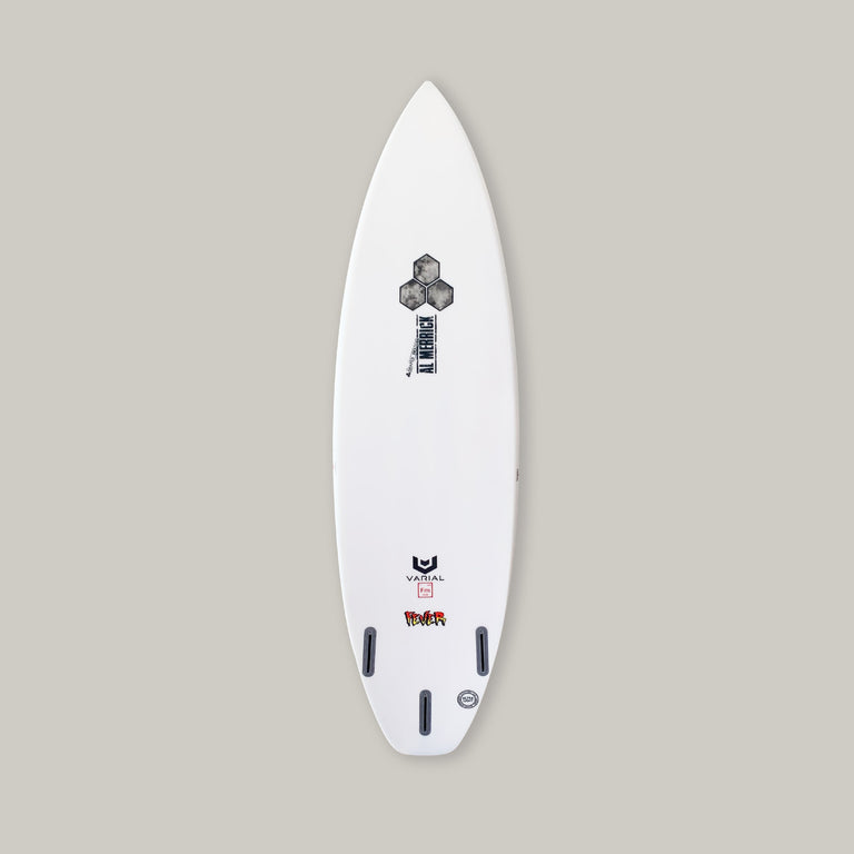 6ft channel islands surfboard. Fever model. Varial foam core, standard glass lay up with varial surf technology infused glass. Performance surfboard, 3 fin set up, squash tail, al merrick stamp, CI hex
