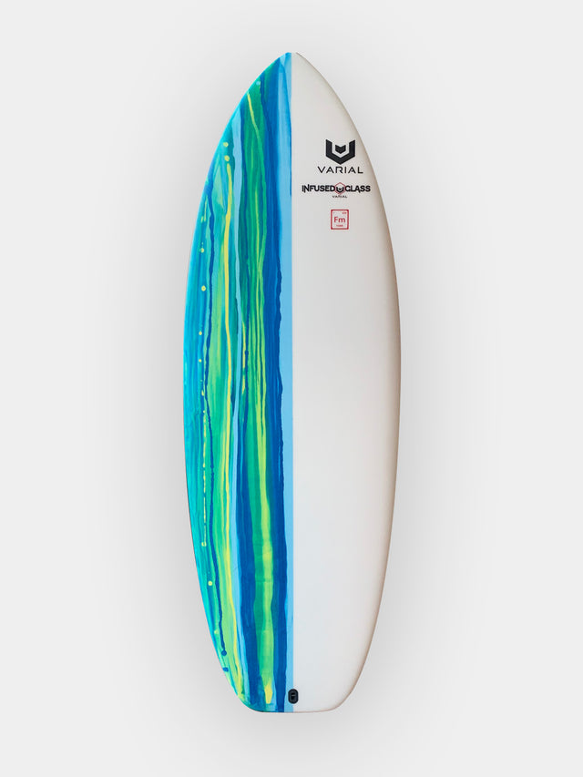 Hydrofoil board for sale. Built with varial infused glass and varial foam. 5'0 foilboard built with the best foil board design and surf technology. Blue design, extra strong glass and chinook boxes to fit any foil surfboard fins