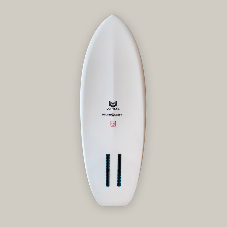 Custom foilboard bottom image with 2 Futures fins long boxes and extra strong glass. For a lighter, stronger, faster foilboard. Constructed with the best surfboard tech. Built with a varial foam surfboard blank and vacuum bag infused glass.