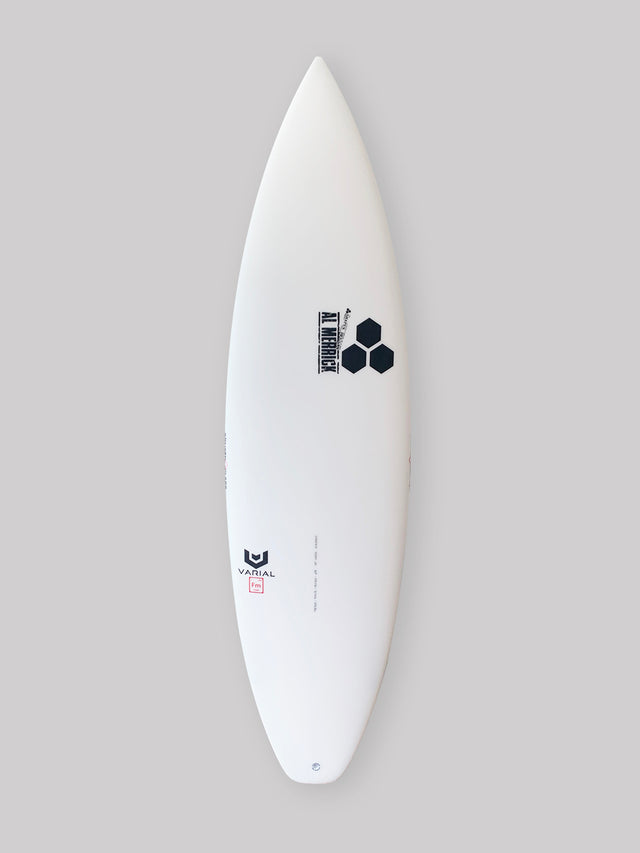 "6'1"" Channel Islands Happy featuring Varial Foam and Infused Glass surfboard technology for a strong, light, fast surfboard."