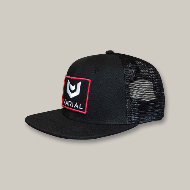 Varial  logo trucker hat with varial surf technology logo. Black, red and grey trucker hats avaialable