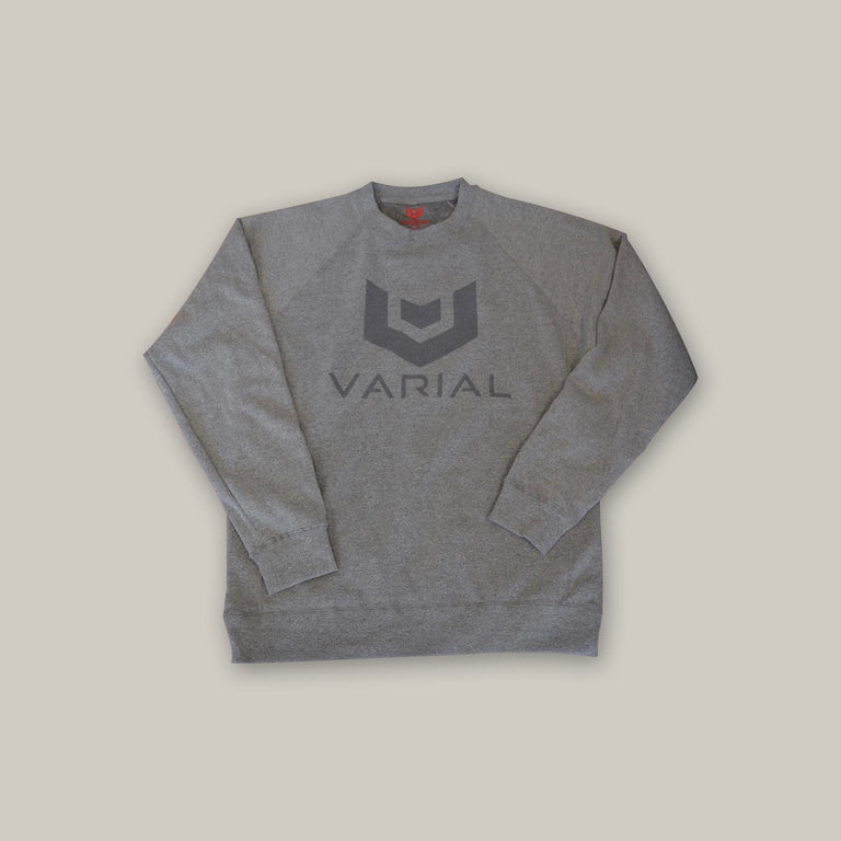 Surf fashion sweatshirt. Grey crewneck sweatshirt with varial surf technology logo. Available at varial surf online.
