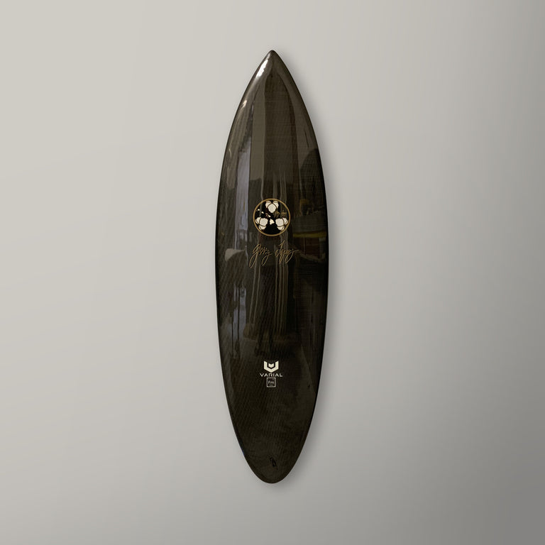 all carbon epoxy resin surfboard from gerry lopez with Varial foam and Infused Glass technology.