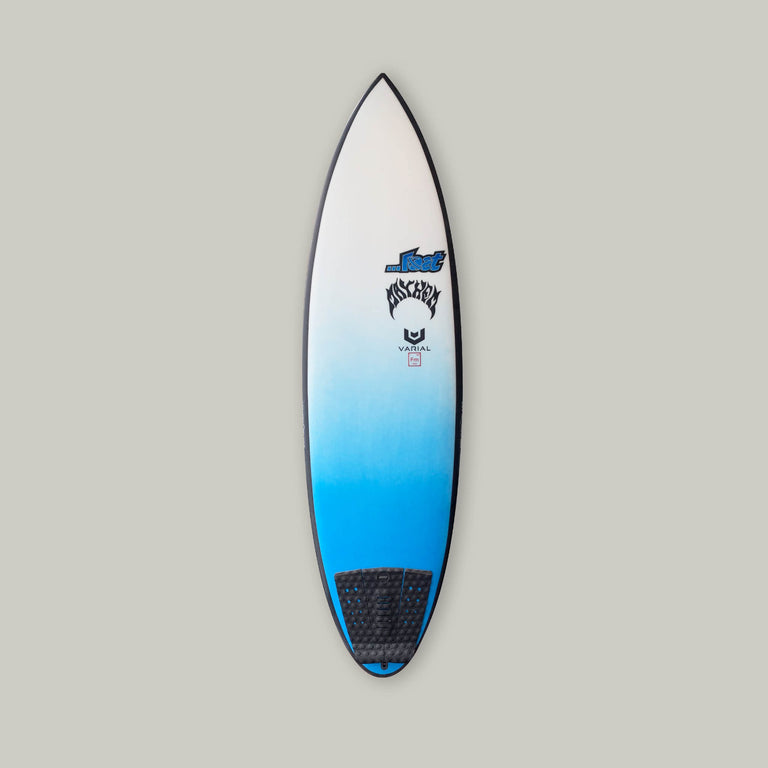...Lost Quiverkiller surfboard built with the best in surf tech Varial Infused glass and varial foam. Blue tail airbrush art, black rail band, prolite leash pad. 5 fin setup. Groveler surfboard, hybrid surfboard, performance surfboard, lost surfboard