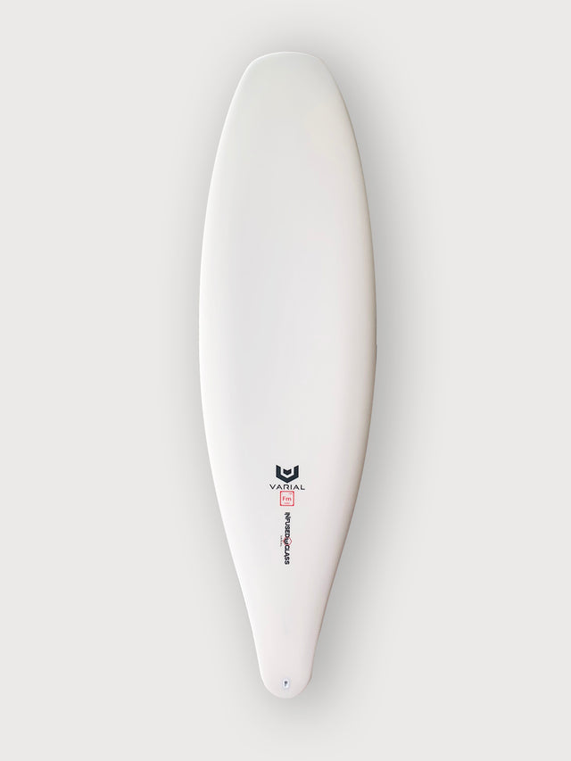 Meyerhoffer surfboard for sale. Meyerhoffer slip in with varial infused glass and varial foam. Built with the best surf technology on the market. Performance surfboard, hybrid surfboard, high tech surfboard, groveler surfboard, meyerhoffer surfboard, single fin surfboard, with polyester resin.