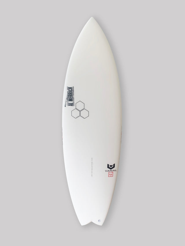 Channel Islands 5'9 rocket wide surfboard for sale. In stock. Groveler surfboard, performance surfboard. Standard glass, futures fins thruster, infused glass and varial foam, surfboard grey resin tint, swallow tail. CI Surfboards Al Merrick stamp, CI hex logos, varial logos.