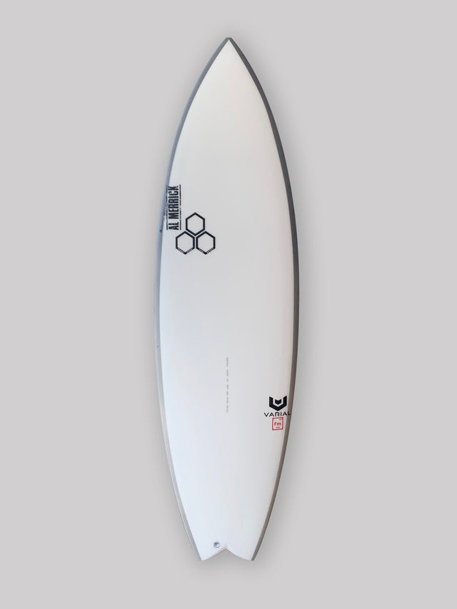CI Rocketwide surfboard with varial infused glass and varial foam. 5'10 performance surfboard, groveler surfboard, CI surfboard, user friends small wave board, small wave surfboard. 3-fin futures fins, standard glass, polyester surfboard resin, rail band airbrush.