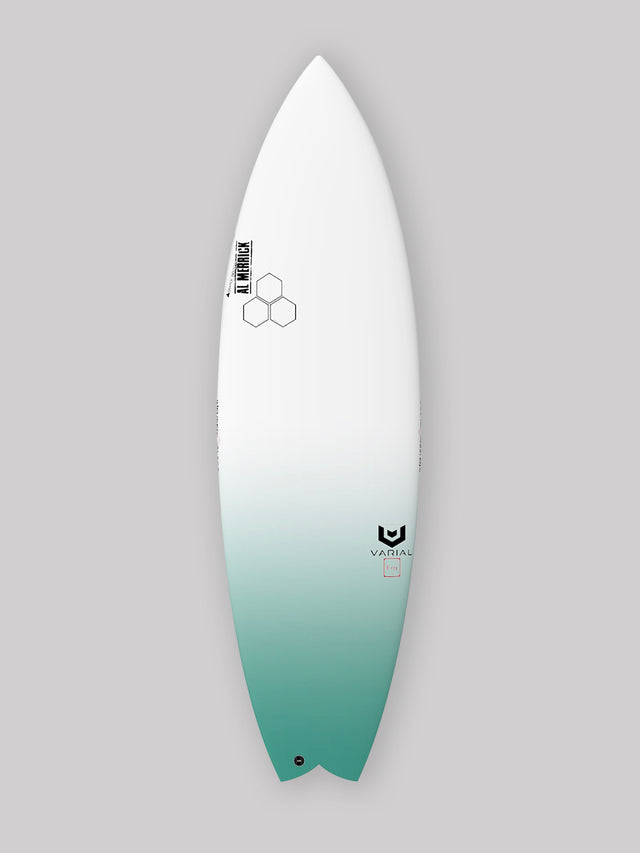 Channel Islands Surfboards Rocket Wide. Built with Varial Foam and Infused Glass Technology. Fully customizable Groveler surfboard. Twin Keel Set up. Epoxy surfboard or polyester, Futures of FCSII surfboard fins, colored airbrush and custom glass. Custom and in stock CI Rocket Wide surfboards available.
