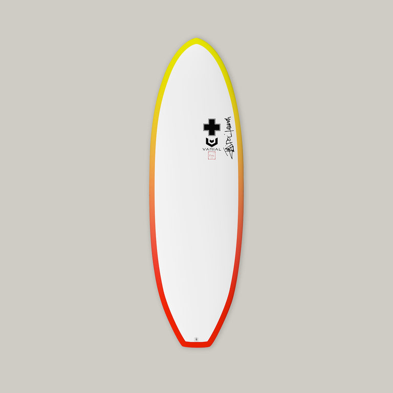 Surf Prescriptions Deadly Flying Turtle deck surfboard image. Funboard groveler built with the best surf tech - varial foam surfboard blank and vacuum bag Infused glass.