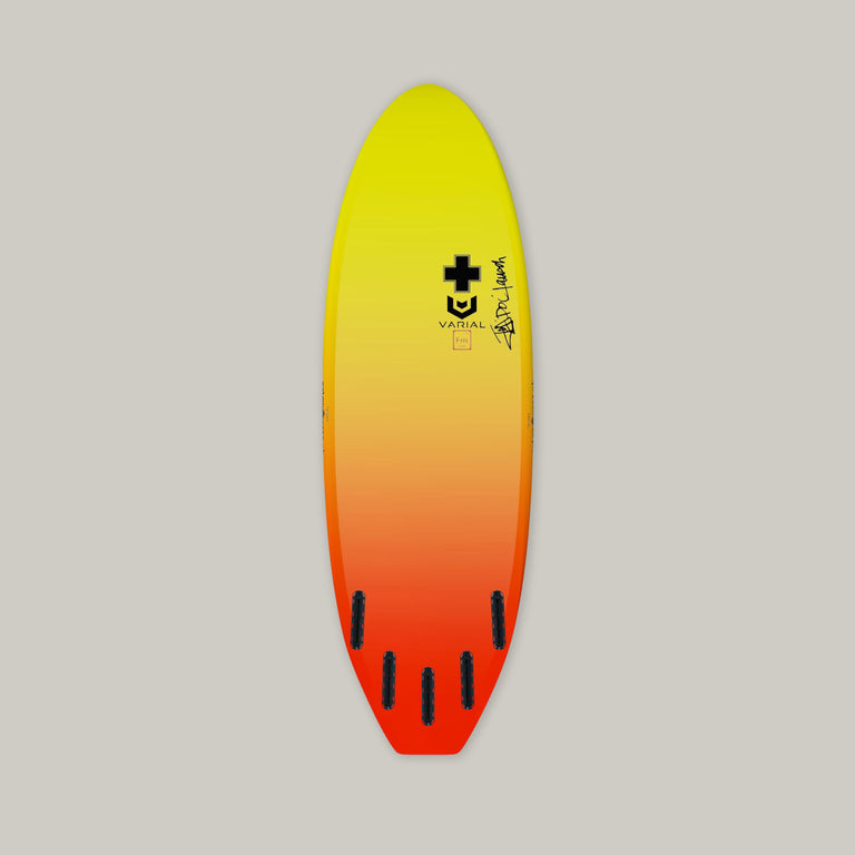 Surf prescriptions surfboard hull image. Deadly flying turtle model with custom color, futures fins, 5 fin setup, and custom glass. Infused vacuum bag glassing and varial foam surfboard core.