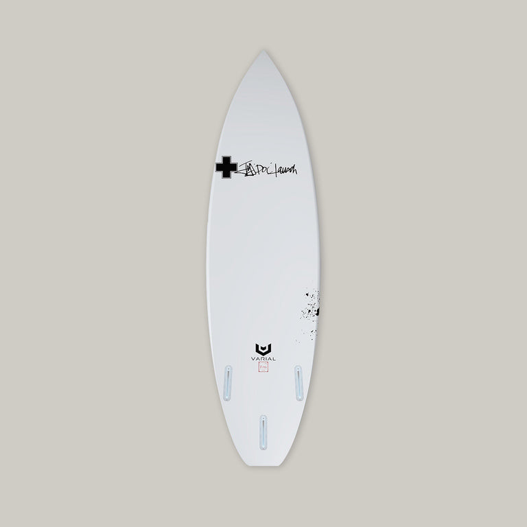 Custom Surf Prescriptions Spanish Omelette with Varial Foam and Infused Glass. Fully customizable performance surfboard. Futures of FSCII fins. Airbrush color and design. Polyester of Epoxy resin. Custom glass lay up.