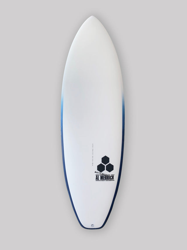 Channel Islands 5'5 ultra joe surfboard. Groveler surfboard, performance surfboard. Standard glass, futures 5-fins, infused glass and varial foam, surfboard rail airbrush, squash tail. CI Surfboards Al Merrick logos, CI hex logos, varial logos.