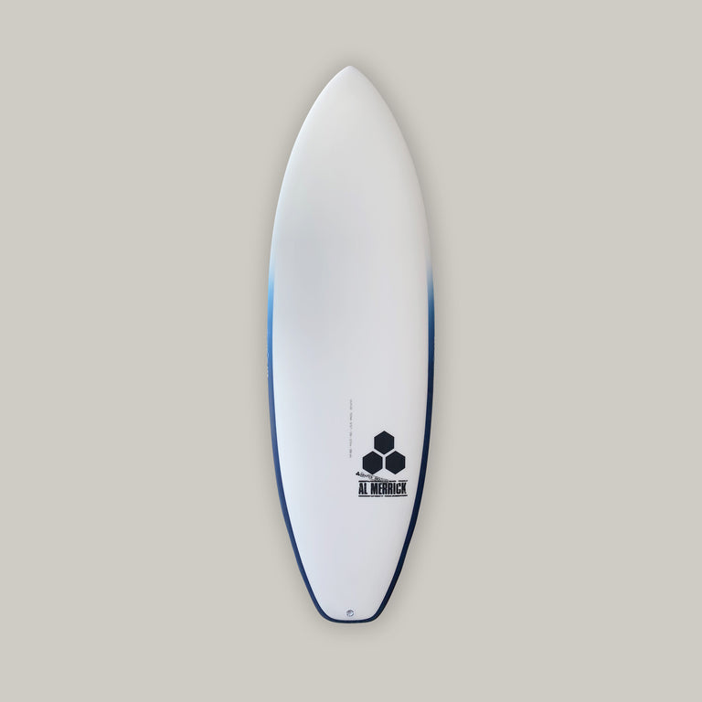 Ultra joe surfboard for sale. In stock 5'5. Groveler surfboard, performance surfboard. Standard glass, futures fins, 5 fin setup, infused glass and varial foam, surfboard railband airbrush, squash tail. CI Surfboards Al Merrick logos, CI hex logos, varial logos.