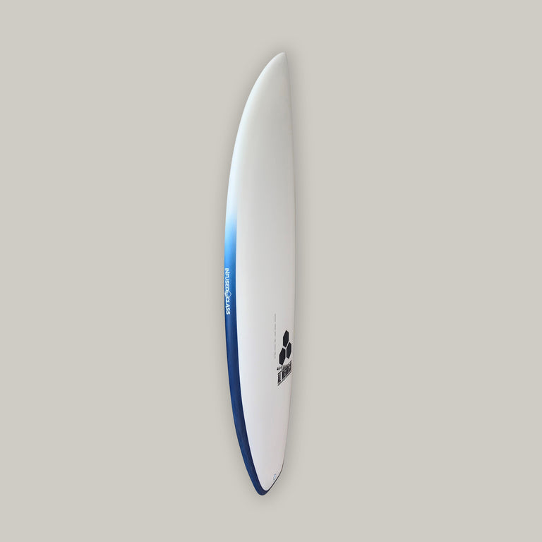 CI Ultra Joe surfboard 5'5, with 5 futures fins boxes, varial surf technology foam surfboard blank, infused glass, channel islands al merrick stamp, standard glass, 5 fin setup, futures fins, railband airbrush