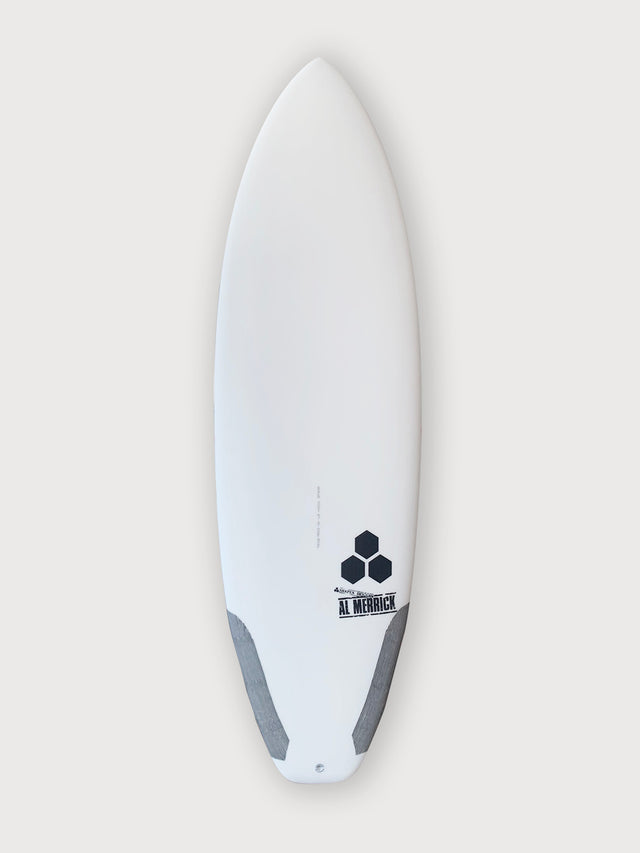 Ultra joe surfboard for sale. In stock 5'7. Groveler surfboard, performance surfboard. Standard glass, futures fins, 3 fin setup, infused glass and varial foam, surfboard carbon tail hits, squash tail. CI Surfboards Al Merrick logos, CI hex logos, varial logos.