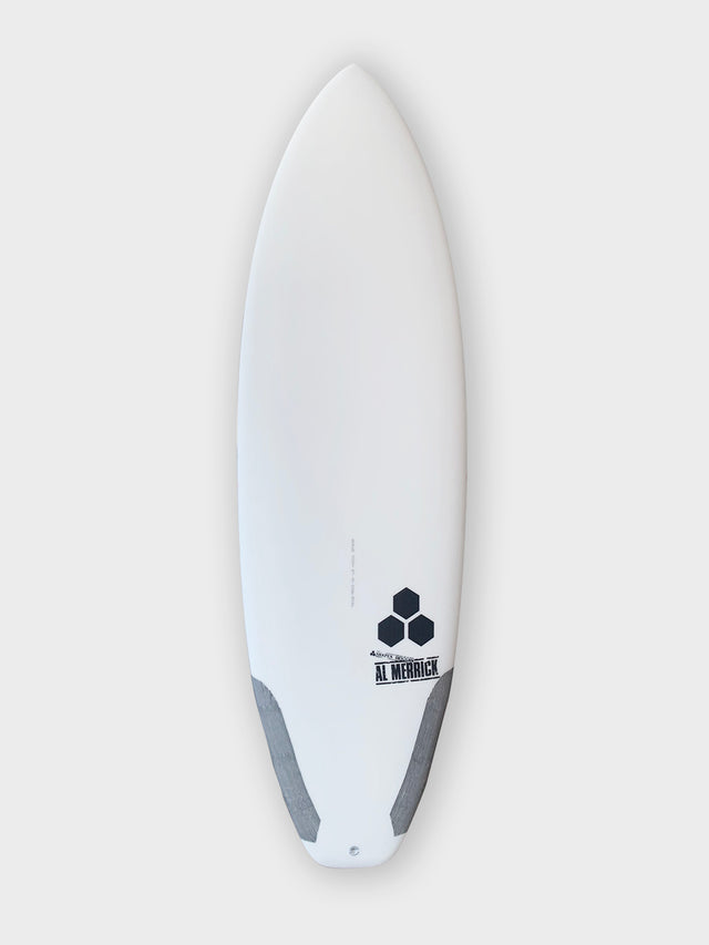 "All new channel islands ultra joe for sale. 5'11"" constructed with varial foam and infused glass. Polyester resin, futures thruster, carbon tail hits, CI laminates. Groveler surfboard, new channel islands surfboard, ultra joe surfboard, high performance surfboard, stringerless surfboard"