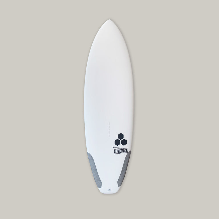 Channel Islands 5'7 ultra joe surfboard for sale. In stock. Groveler surfboard, performance surfboard. Standard glass, futures fins thruster, infused glass and varial foam, surfboard carbon, squash tail. CI Surfboards Al Merrick logos, CI hex logos, varial logos.