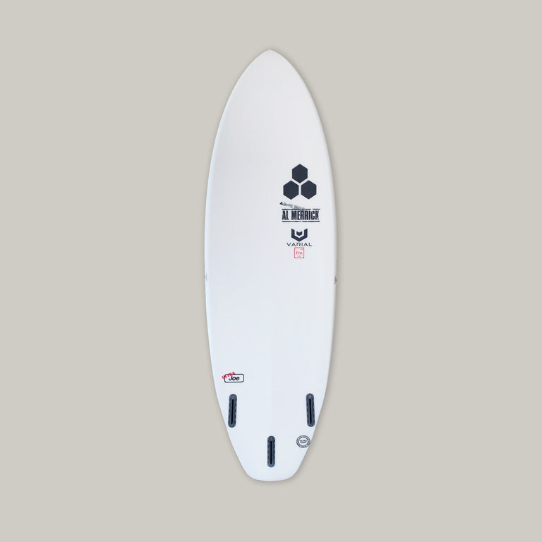 "CI surfboards 5'7"" ultra joe with varial foam core and infused glass for a long lasting, highly responsive, strong surfboard. Small wave surfboard, groveler surfboard, performance surfboard, beginner surfboard, intermediate surfboard, CI surfboard, high tech surfboard. Futures 3-fin surfboard. Progressive board for beginner surfers and intermediate surfers"