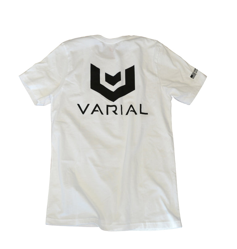 Varial logo t-shirt, with varial logo on the front and back of the t-shirt. White and grey t-shirts available