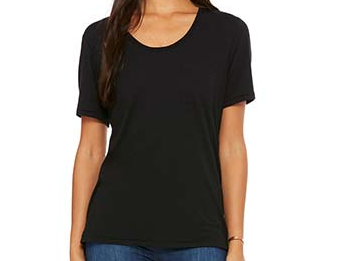 Womens surf wear black t-shirt with surf shop logo.