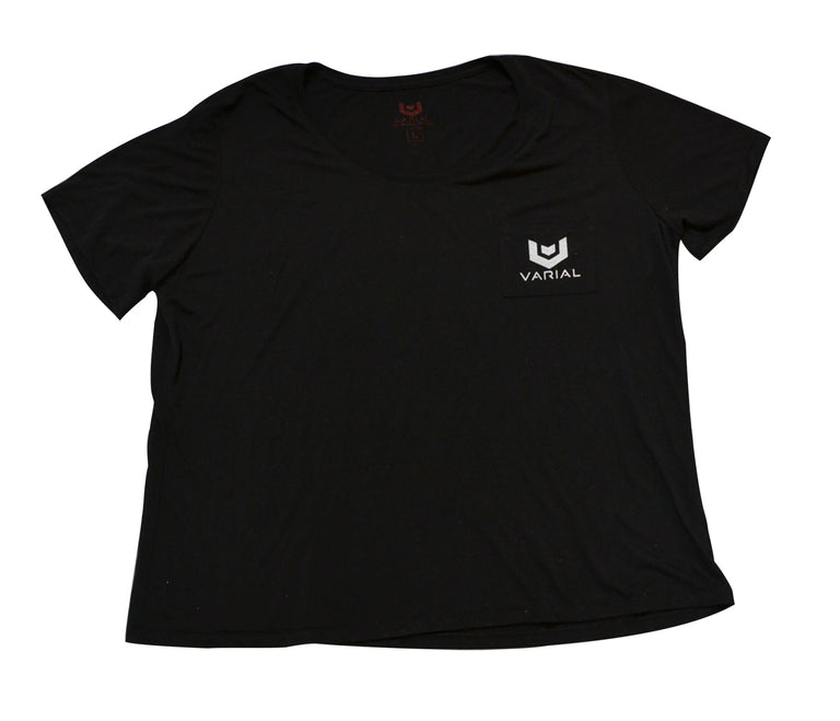 Women's surf clothing, varial surf technology super soft pocket t-shirt. Super soft t-shirt with varial surf logo.
