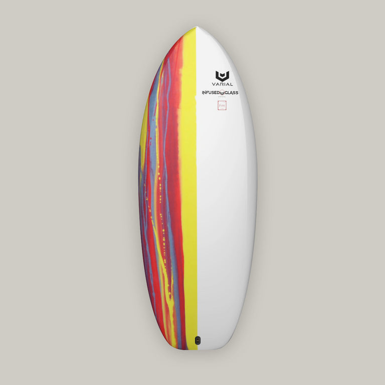 Custom Varial Surf Technology foil surfboard deck image. Red color scheme custom paint and custom foil dimensions.Built with the best foil board technology. Built with varial foam and infused glass for a light, fast, strong foilboard.