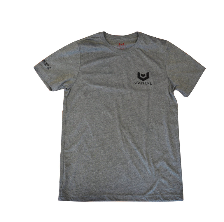 Varial surf brand t-shirt. Grey t-shirt and white t-shirt available. Varial foam logo on back, varial surf technology logo on front.