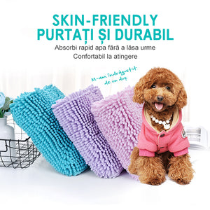 Super-absorbent chenille microfiber pet towel