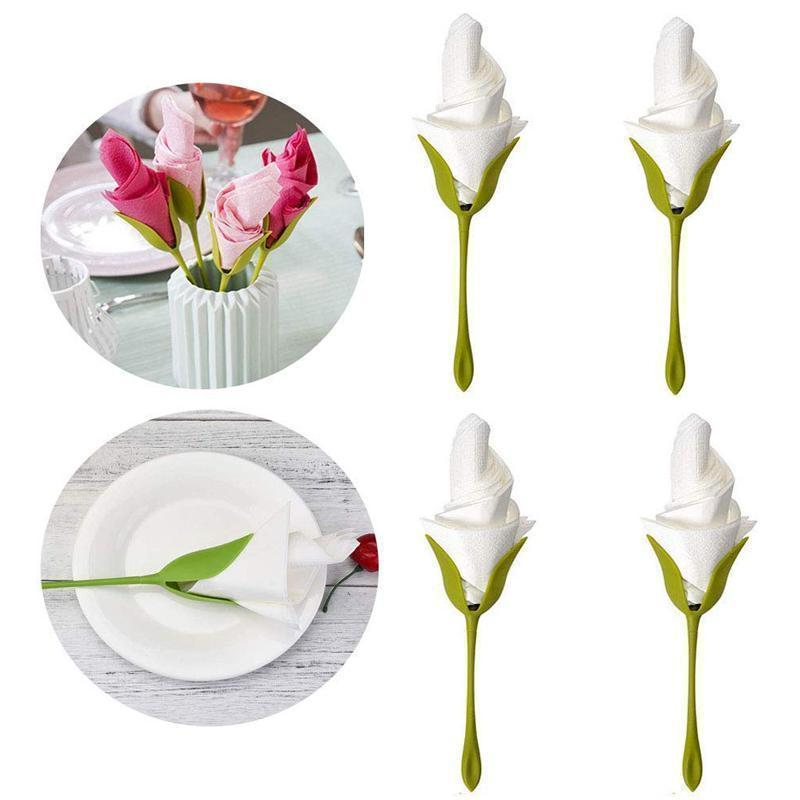 Suport de servetel in forma de floare (4 PCS)