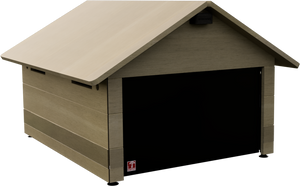 robotic lawn mower shed plywood ultra durable with flap, with solar led