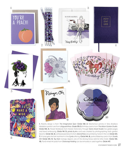 petal & pins violet hat featured in Stationery Trends Magazine Spring 2018