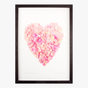 pink hydrangea heart art print by petal & pins