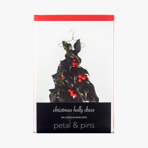 christmas holly dress style 2 cards - pack of six christmas cards by petal & pins