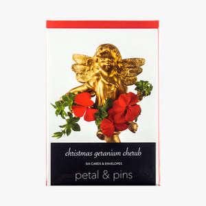 christmas geranium cherub cards - pack of six christmas cards by petal & pins