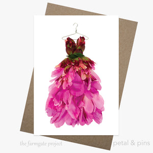 peony dress greeting card by petal & pins for the farmgate project