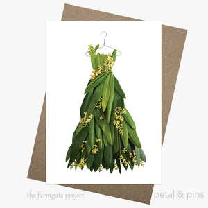 olive blossom dress greeting card by petal & pins for the farmgate project