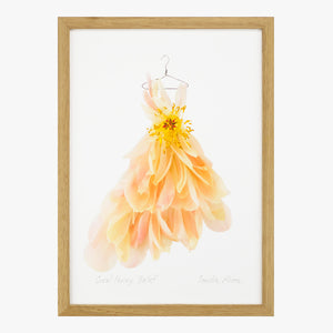 coral peony ballet dress art print by petal & pins