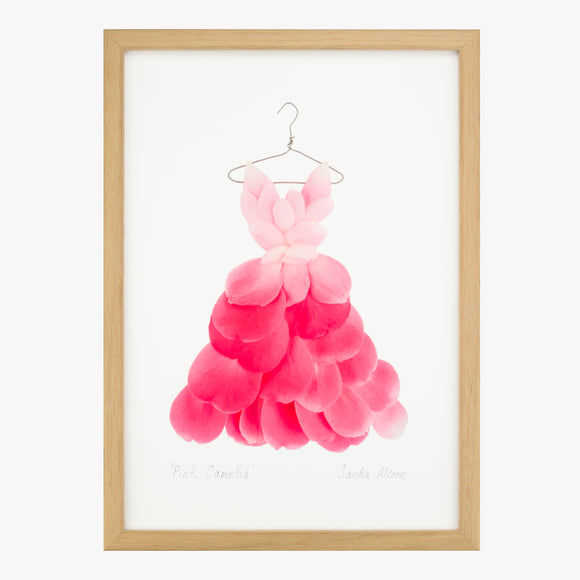 pink camellia dress art print from the Garden Fairy's Wardrobe by petal & pins
