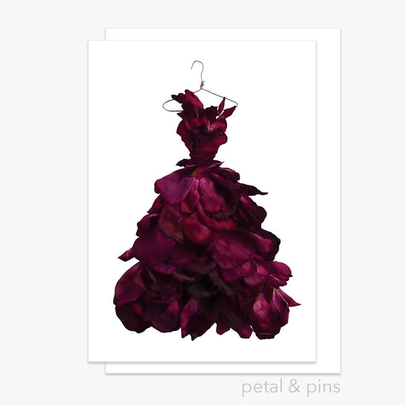 red wine rose gown greeting card by petal & pins
