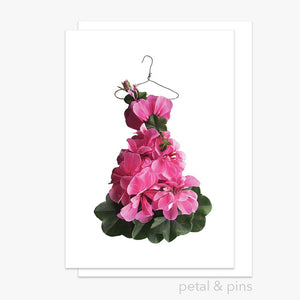 pink geranium dress greeting card by petal & pins