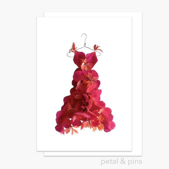 red geranium dress greeting card by petal & pins