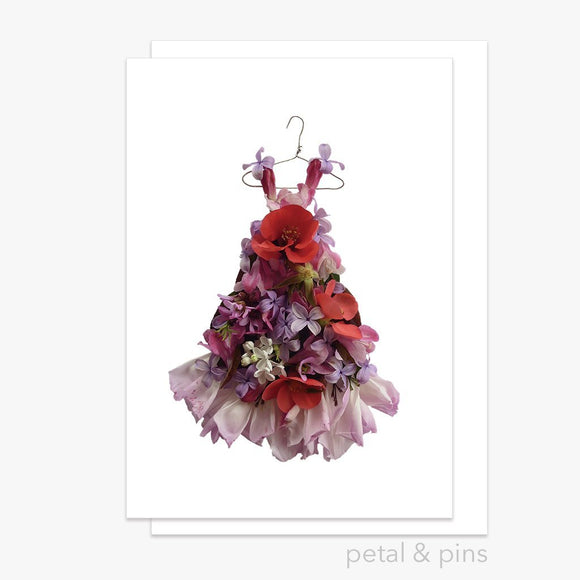patchwork dress greeting card by petal & pins