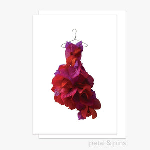 bougainvillea dress greeting card by petal & pins
