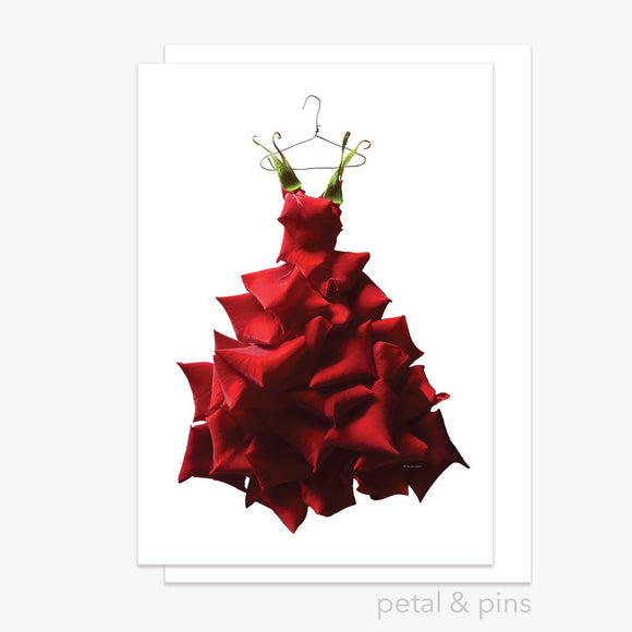 red rose gown greeting card by petal & pins