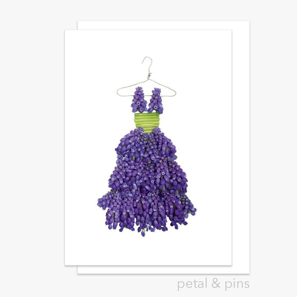 grape hyacinth dress greeting card by petal & pins