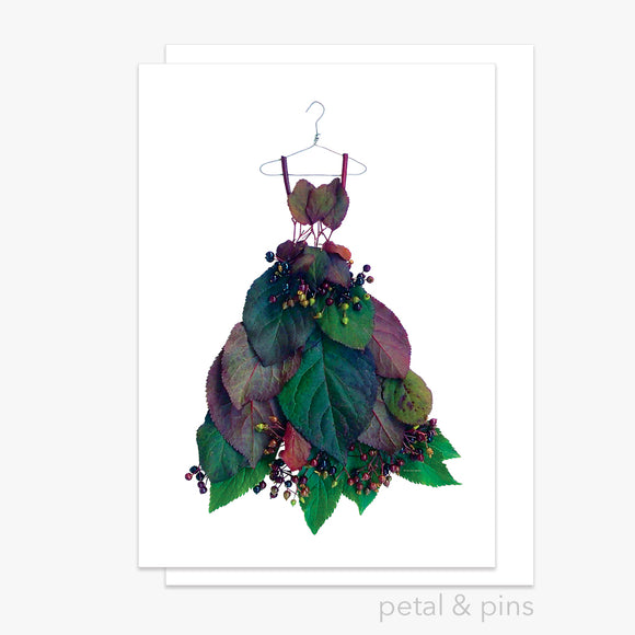 plum leaf & elderberry dress greeting card by petal & pins