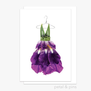 iris with bow dress greeting card by petal & pins