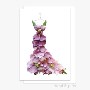 pink hellebore dress greeting card by petal & pins